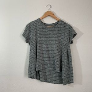 Tops - Mossy Green & Black Stripe Tee ~ Size Small
